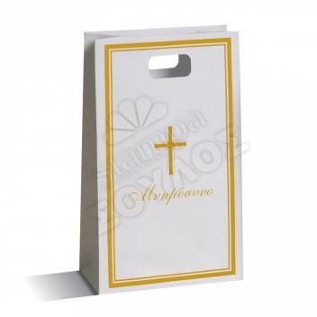 Τσάντα Μνημοσύνου Μεγάλη Χάρτινη με Χούφτα: Χρυσή Μεγάλη Σταυρό Τσάντες Μνημοσύνων Μεγάλες με Χούφτα