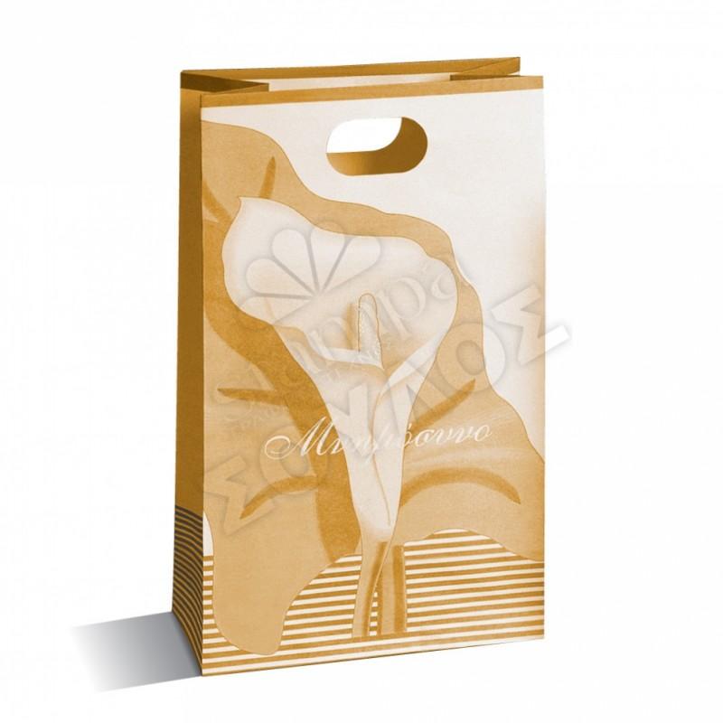 Τσάντα Μνημοσύνου Μεγάλη Χάρτινη με Χούφτα: Χρυσή Μεγάλη Κρίνο Τσάντες Μνημοσύνων Μεγάλες με Χούφτα