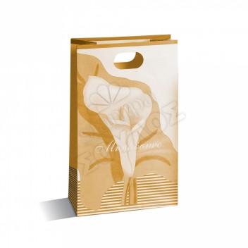 Τσάντα Μνημοσύνου Μικρή Χάρτινη με Χούφτα: Χρυσή Μικρή με Κρίνο Τσάντες Μνημοσύνων Μικρές με Χούφτα