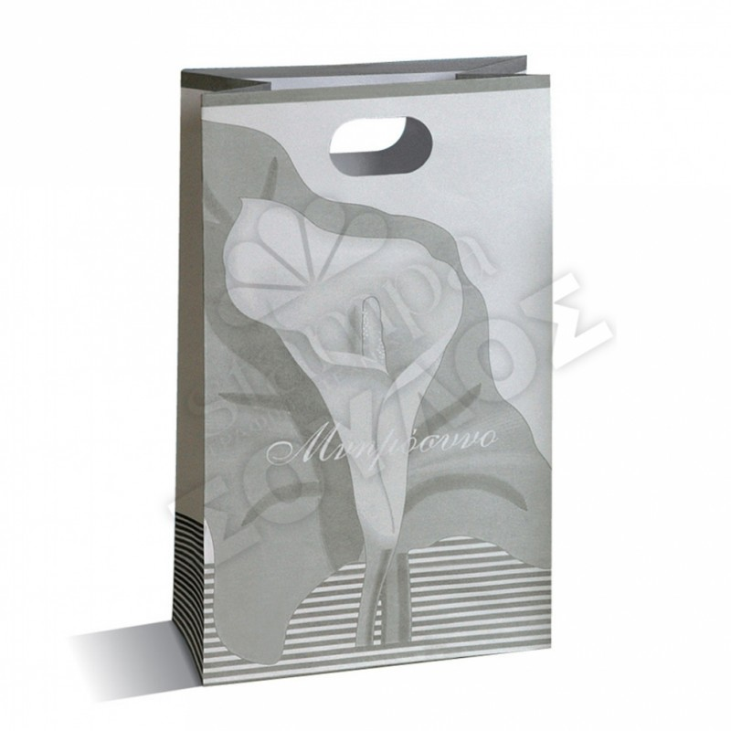 Τσάντα Μνημοσύνου Μεγάλη Χάρτινη με Χούφτα: Ασημί Μεγάλη Κρίνο Τσάντες Μνημοσύνων Μεγάλες με Χούφτα