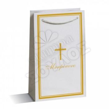 Τσάντα Μνημοσύνου Μεγάλη Πλαστικοποιημένη: Χρυσή Σταυρό Κορδόνι Τσάντες Μνημοσύνων Μεγάλες Πλαστικοποιημένες με Κορδόνι